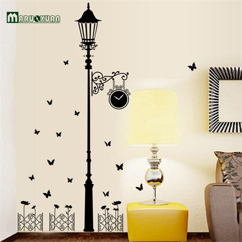 MARUOXUAN 2017 Removable Vinyl Wall Stickers Street Lamps And Iron Fence Diy Home Decor Living Room Bedroom Mural Art Decal