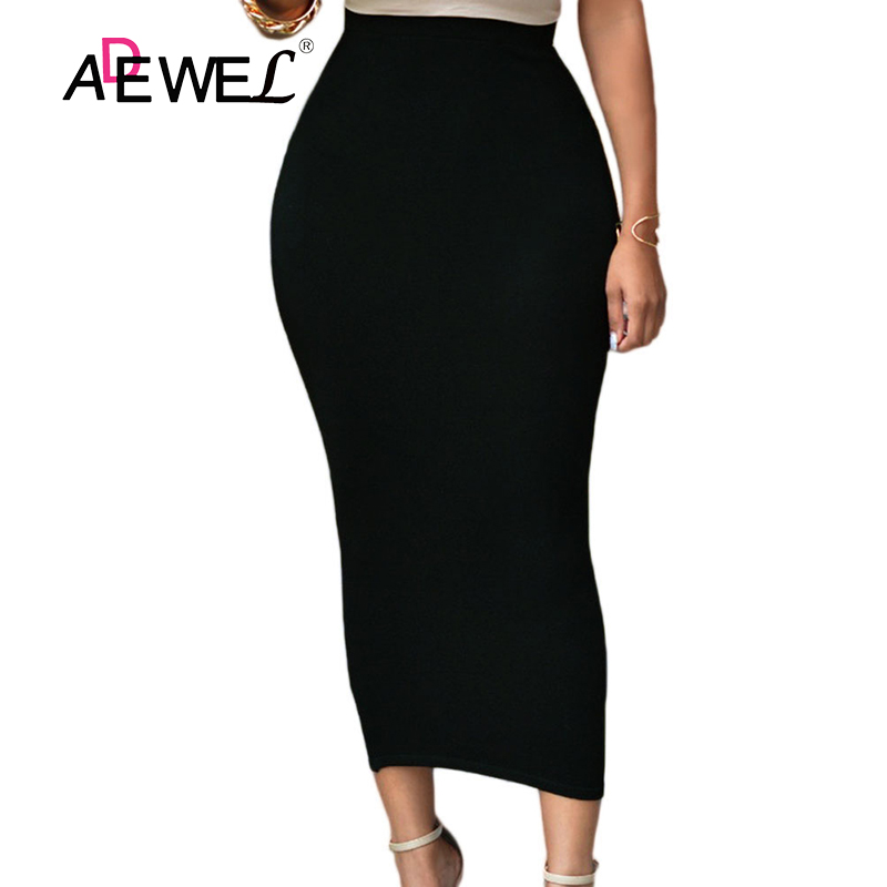 ADEWEL 2019 Sexy Women Bodycon Long Skirt Black High Waist Tight Boho Skirts Club Party Wear Elegant Pencil Skirt Casual Skirts