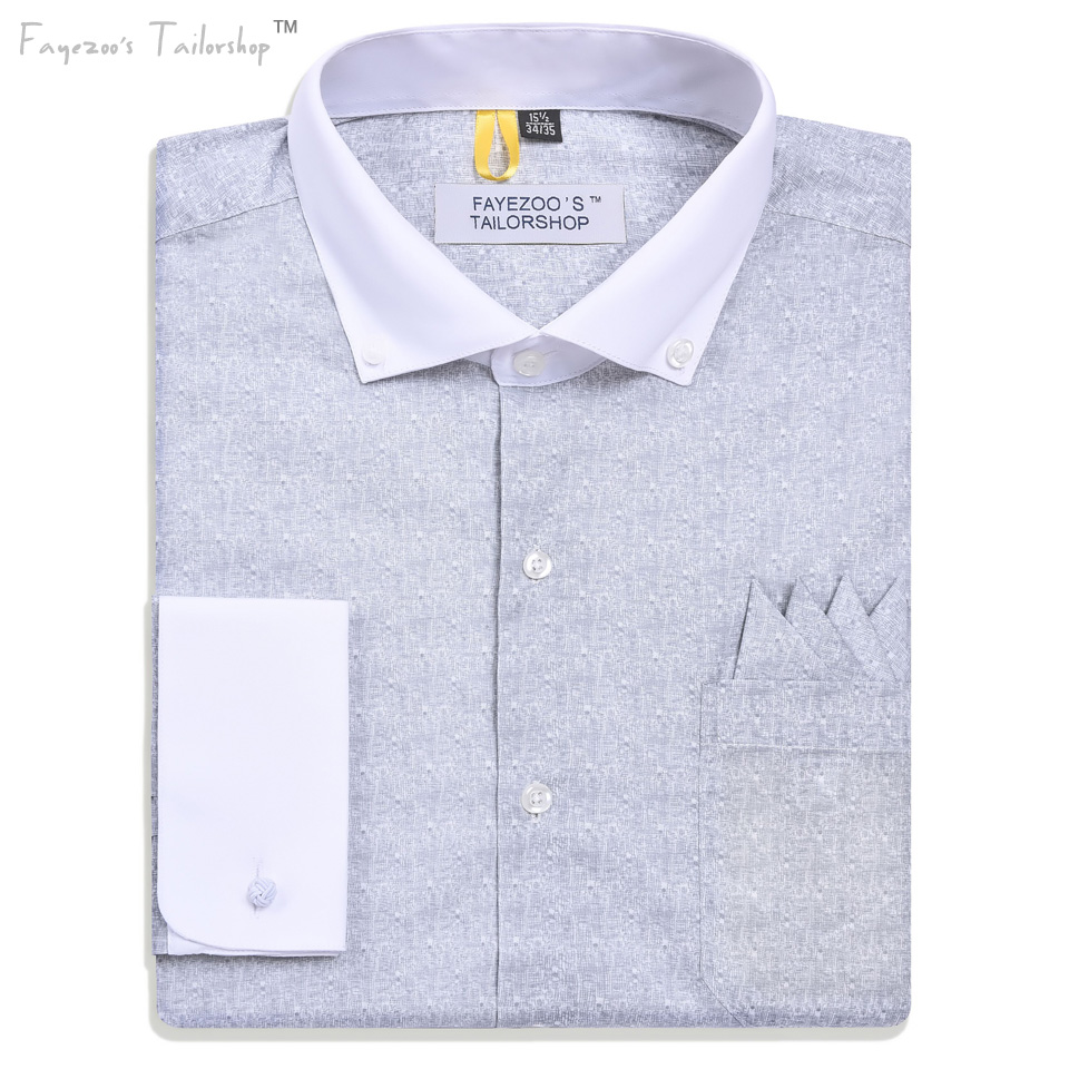 Regular fit men 39 s non iron french cuff contrast button for Pin collar shirt double cuff