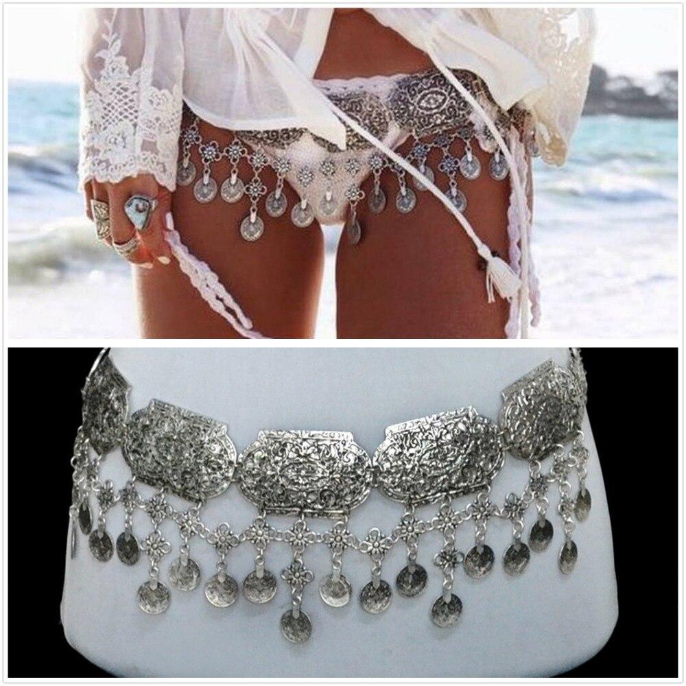 Bohemia plata antigua de las mujeres cintura cadenas Boho playa Sexy cuerpo cadenas  monedas borla cinturón cadenas de vientre joyería del cuerpo 01eef6565445