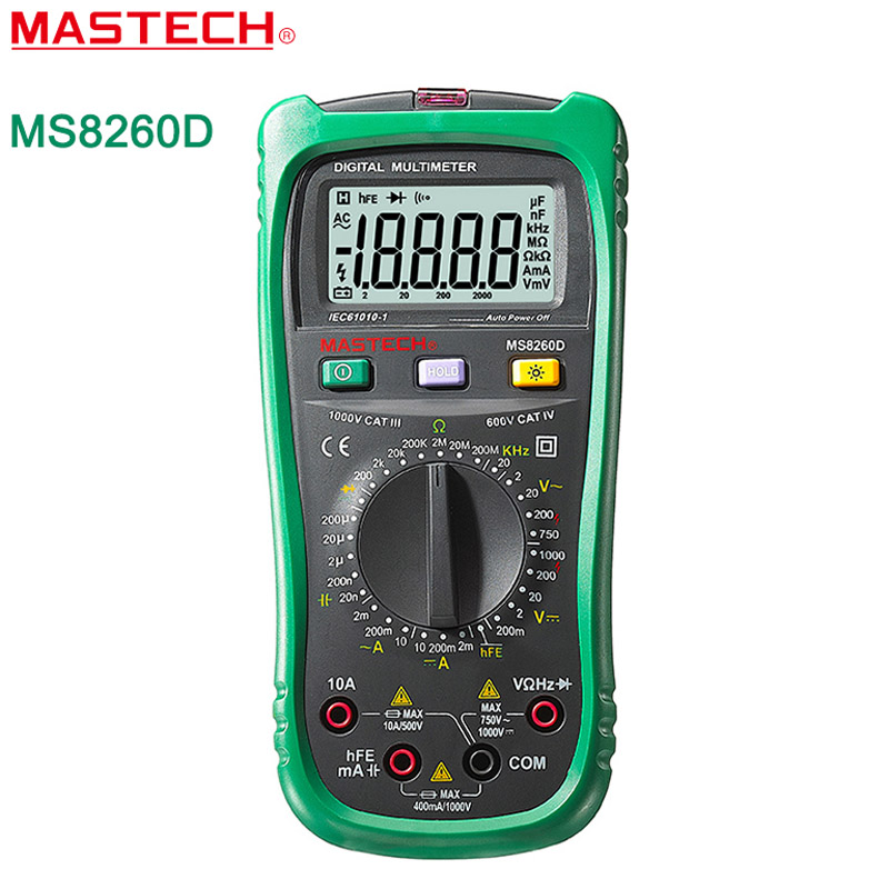 Multitester MASTECH MS8260D Digital Multimeter 4 1/2 Non-contact AC/DC Voltage Current Frequency Detector with Transistor Check free shipping mastech ms8211 portable pen type multimeter meter auto range digital multimeter non contact ac dc voltage detector
