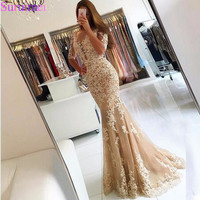 Champagne Lace Tulle Mermaid Half Sleeves Sexy Backless Prom Dress Illusion Sheer Scoop Evening Dress Gown