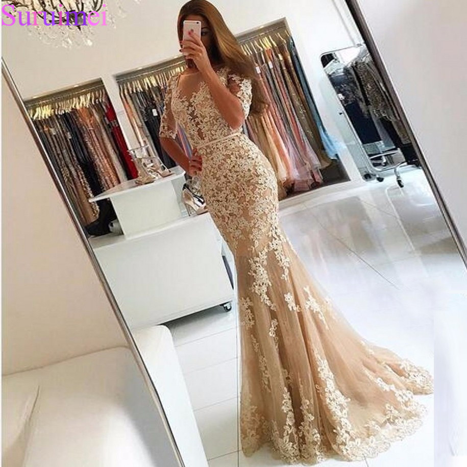 Champagne Lace Tulle Mermaid Half Sleeves Sexy Backless Prom   Dress   Illusion Sheer Scoop   Evening     Dress   Gown   Evening     Dresses   2018