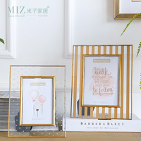 Miz Photo Frame Golden Metal Frame 6 7 Inches Picture Frame For Home Decoration Interior Accessories