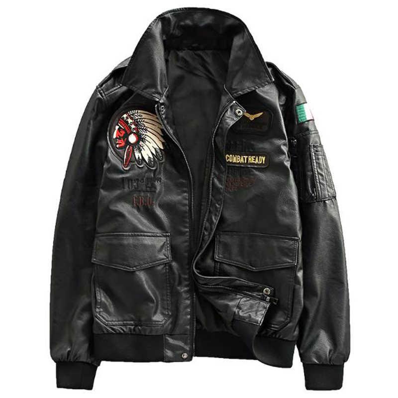 空軍パイロットメンズレザージャケット XXXL プラスインド刺繍オートバイの革のジャケットコート米国スタイルのオーバーコートの冬 A259