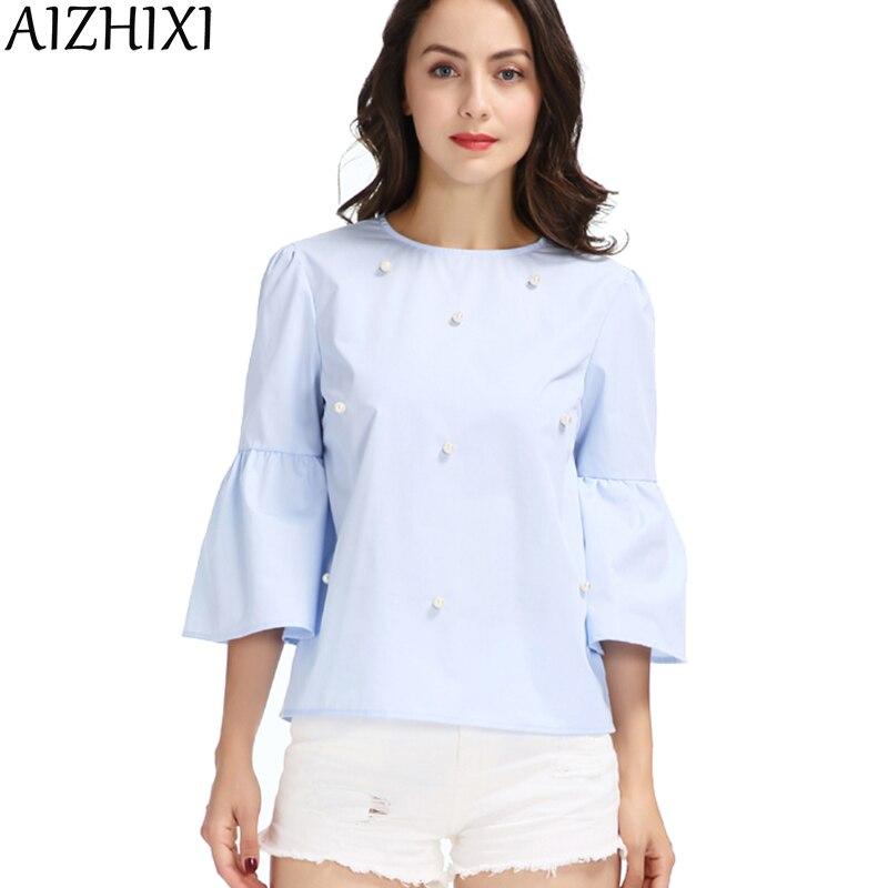 AIZHIXI Women Elegant Pearls Beading Flare Sleeve Shirt O Neck Blouse Three Quarter Sleeve 2017 Summer