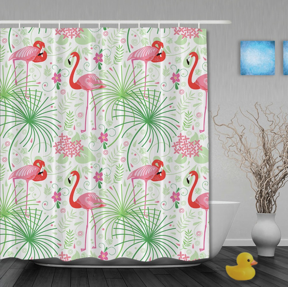 Lovely Animals Shower Curtain Pink Flamingos Flowers Bathroom Curtain Waterproof Fabric Custom Shower Curtains With Hooks