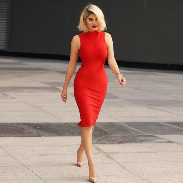 BEAUKEY 2018 Hot Red Mid Calf Bandage Dress Turtleneck Sleeveless ...