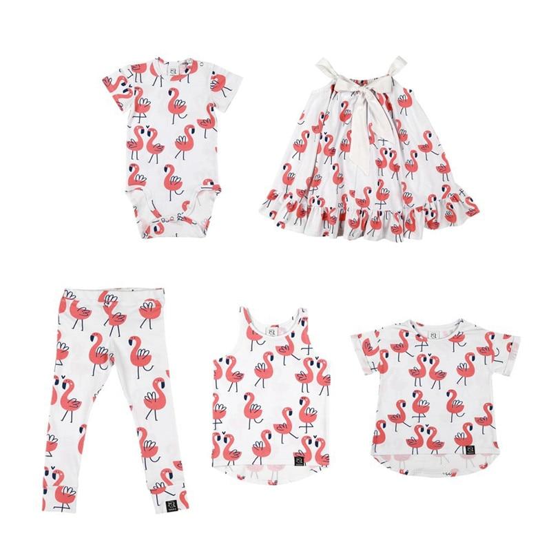 Kids Tops T-Shirt children Matching Flamingo-Pattern Baby-Boy/girls Summer KUKUKID Dress