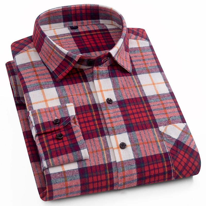 AOLIWEN Men's Fashion Plaid Long Sleeve Shirt 100% Cotton Comfortable Multi-color Summer New Fashion Men Shirt Low Price M-5XL