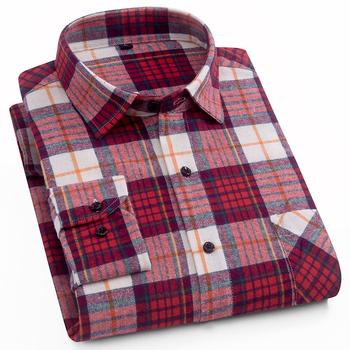 AOLIWEN moda męska Plaid koszula z długim rękawem 100 bawełna wygodne wielobarwne lato nowa moda koszula męska niska cena M-5XL tanie i dobre opinie CN (pochodzenie) COTTON Casual Shirts Pełne Wykładany kołnierzyk Jednorzędowe Koszule REGULAR Flanelowy Na co dzień