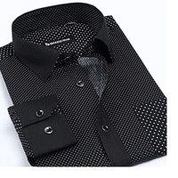 100% Coton Hommes Chemise de Petits Points Nouveau D'été Printemps Marque Robe Chemise Casual Chemise À Manches Longues Noir Blanc