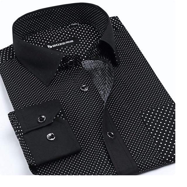 100% Cotton Men's Shirt Small Dots New Summer Spring Brand Shirt Casual Dress Shirt Long Sleeve Black White