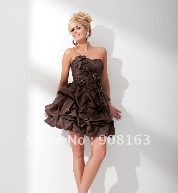 CD064 Strapless crinkle taffeta short A-line dress with softly curved neckline