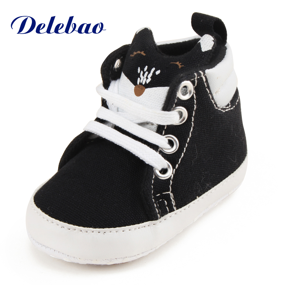 White Toddler Shoes | Delebao The Lovely Newborn Toddler Shoes White Fox Design Lace Up Baby Shoes 2017 New Design Canvas Sole Soft First Walkers