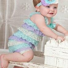 Летний стиль для новорожденных детей кружевной гофрированный Комбинезон для маленьких девочек; Модный комбинезон для дня рождения; коллекция года; одежда для фотосессии