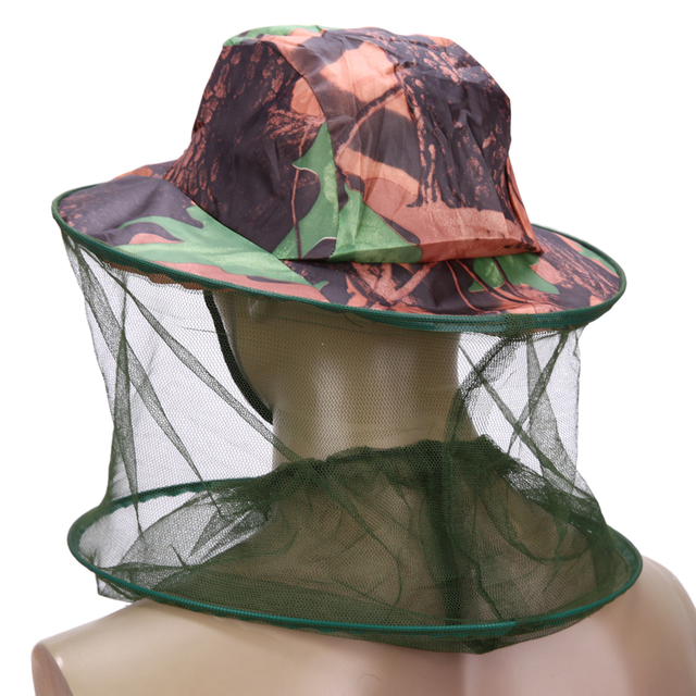 Camouflage Fishing Hat Bee keeping Insects Mosquito Net Prevention Cap Mesh Fishing Cap Outdoor Sunshade Lone Neck Head Cover 4