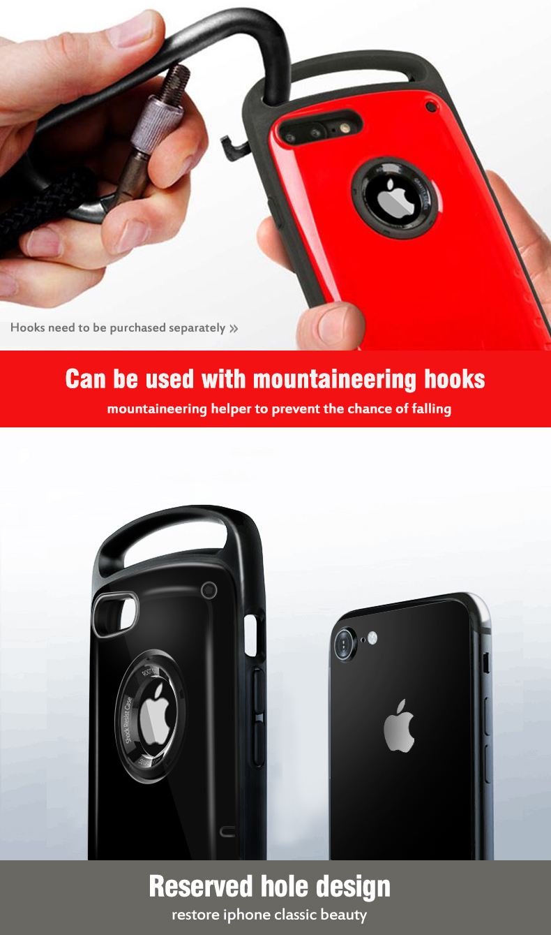 this phone case can be used with mountaineering hoks