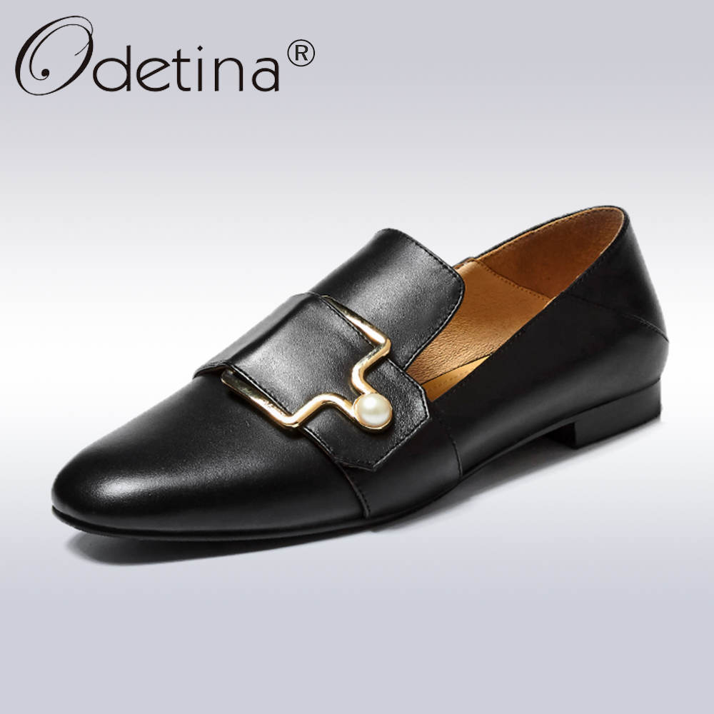 Odetina 2018 New Fashion Spring Genuine Leather Soft Flats For Women Buckle Strap Loafers Female Casual Pearl Slip On Flat Shoes thicken stripe sleeping bag wrap mermaid blanket for kids