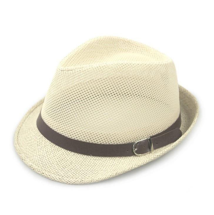 Kagenmo дышащая сетка ремень пряжка летняя соломенная мужская шляпа Корейская пляжная соломенная шляпа женская шляпа солнцезащитный козырек крутая 6 цветов 1 шт - Цвет: B