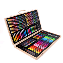 180PCS/set Office Painting Stationery Wooden Box Watercolor Pen Brush Set School Student Drawing Crayon Art Supplies