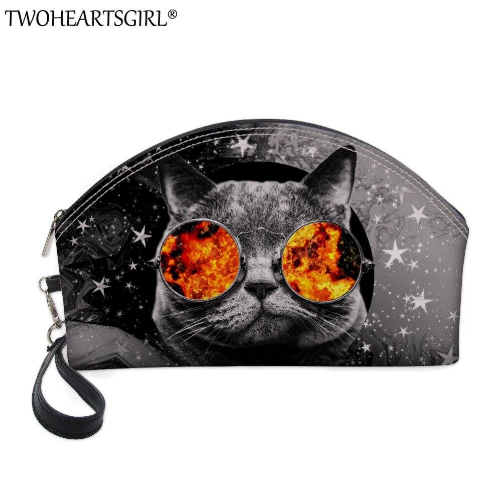 TWOHEARTSGIRL 3D Printing Women Glasses Cat Cosmetic Bag Large Capacity Makeup Bags Cosmetic Cases Hand Holding Make Up Handbag