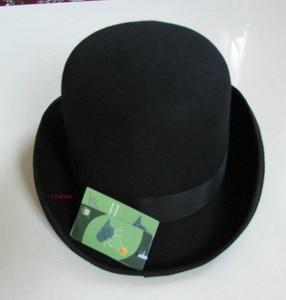 Image 3 - 100% Wool Derby Hat Unisex Bowler Hats Wool Felt Fedora Hats Derby Bowler Hats Feather Decorate B 8134
