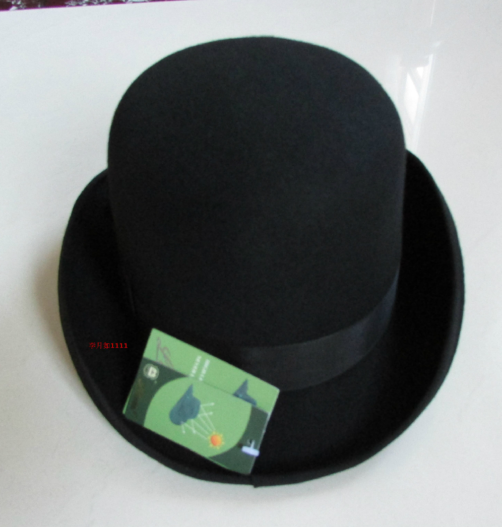 Image 3 - New 100% Wool Hat High Quality Fashion Men's and Women's Black Cap Bowler Hats Black Wool Felt Derby Bowler Hats B 8134-in Men's Fedoras from Apparel Accessories