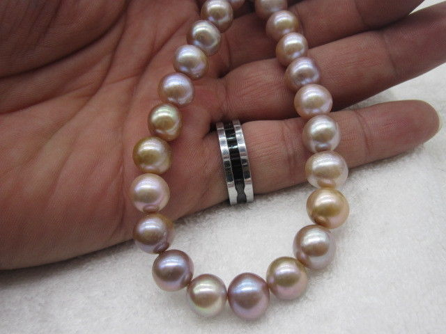 """18"""" AAA 10-11MM SOUTH SEA NATURAL WHITE PINK PURPL PEARL NECKLACE 925 silver GOLD CLASP"""