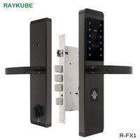 RAYKUBE электронный дверной замок с отпечатком пальца/паролем/ID картой/механический ключ 4 в 1 Открытие для домашнего офиса безопасный замок