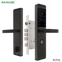 RAYKUBE Electronic Door Lock With Fingerprint / Password / ID Card / Mechanical Key 4 In 1 Opening For Home Office Safe Lock