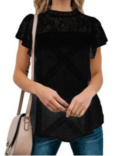 2020 Summer Chiffon Tops Women Blouses Ruffles Plus Sizes Befree Boho Floral Elegant Lady Sexy Lace Casual Embellished Shirts