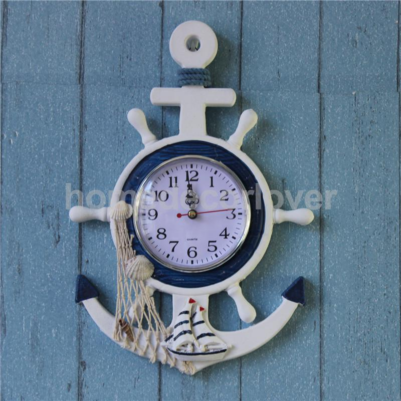 Sea Theme Nautical Anchor Ship Steering Wheel Fishing Net Hanging Wall Clock