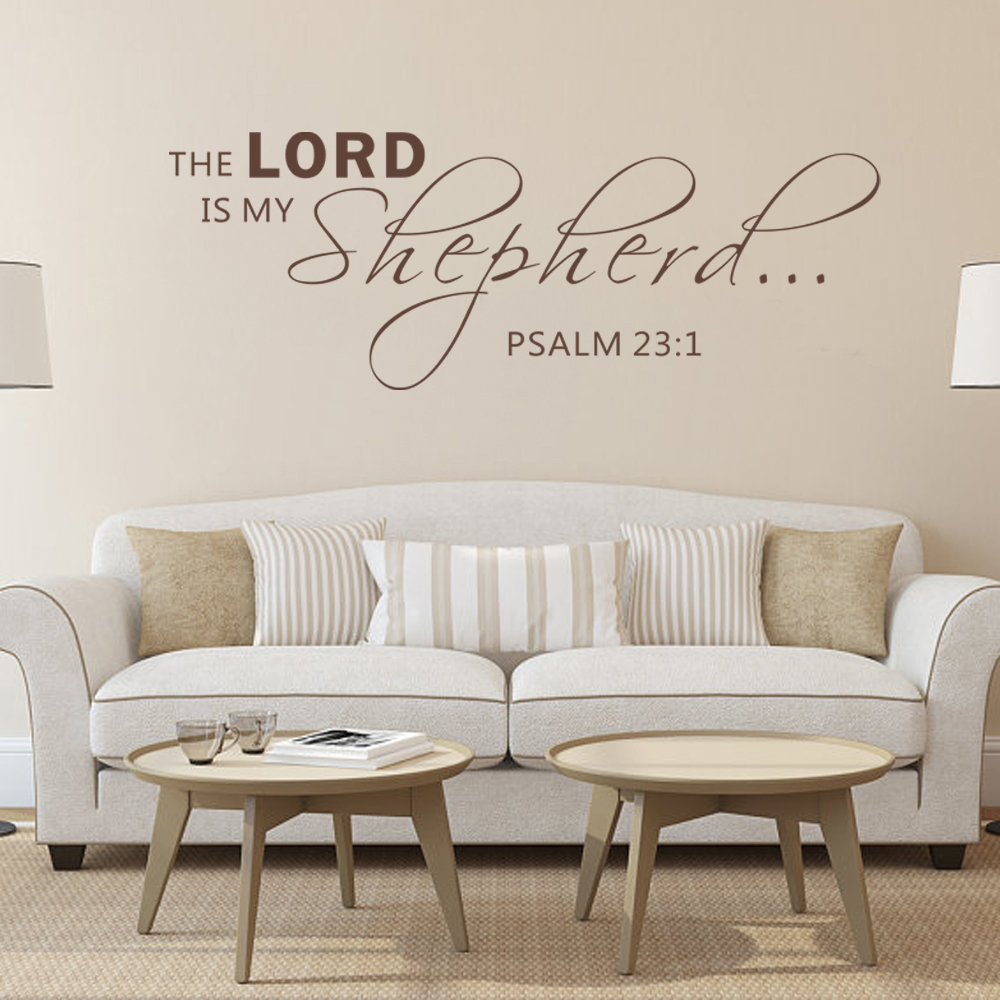 Psalm 23:1 The Lord Is My Shepherd Bible Verse Vinyl Wall Decal Quotes Art 20.3cm x 56cm