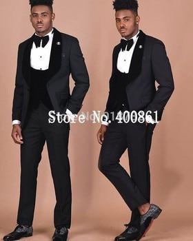 Handsome One Button Black Groom Tuxedos Groomsmen Shawl Lapel Mens Suits Blazers (Jacket+Pants+Vest+Tie) W:1219