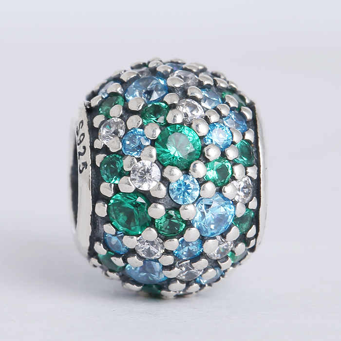 New Summer collection authentic 925 sterling silver ocean mosaic pave mixed green cz charms Suitable for Pandora Charm Bracelets