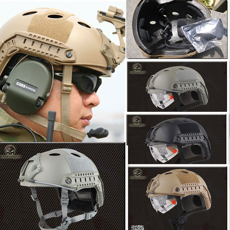 Square Hole Emerson Navy Seal FAST Helmet with Protective Goggle Base jump helmet BJ PJ Military Tactical Helmet  3color bicycle helmet
