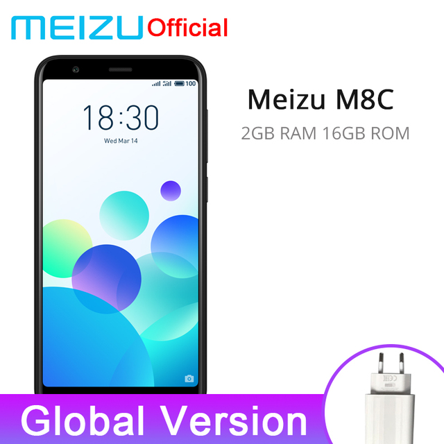 Global Version Meizu M8C 2GB 16GB Mobile Phone Qualcomm 425 Quad Core 5.45'' 18:9 Full Screen 13.0MP Rear Camera 3070mAh