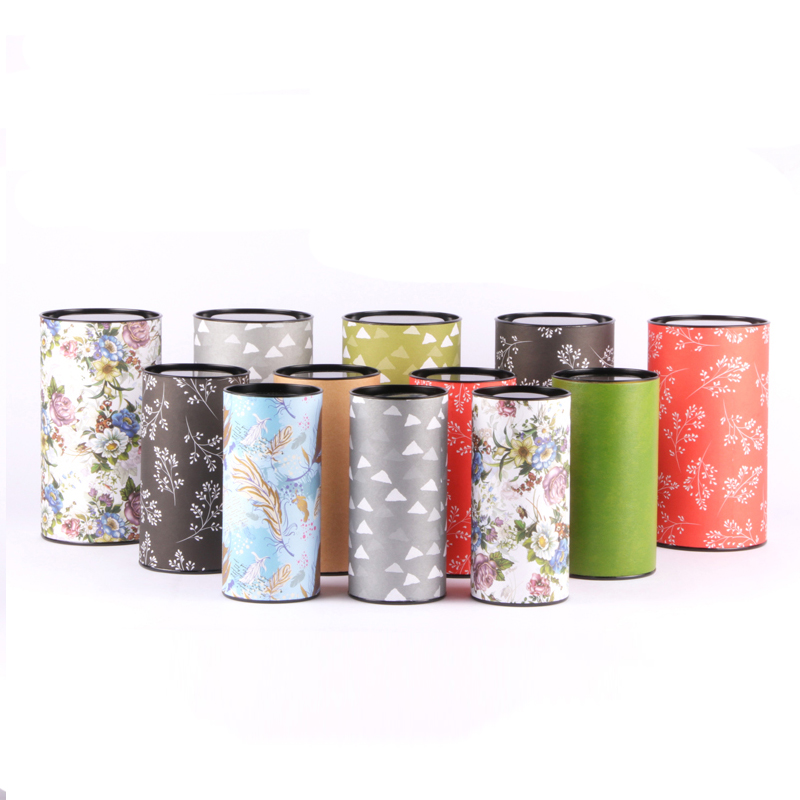 Xin Jia Yi Packaging Printed Round Paper Box With Tin Lid Product Customized Different Color Gift Tube Package Wholesale Supplie