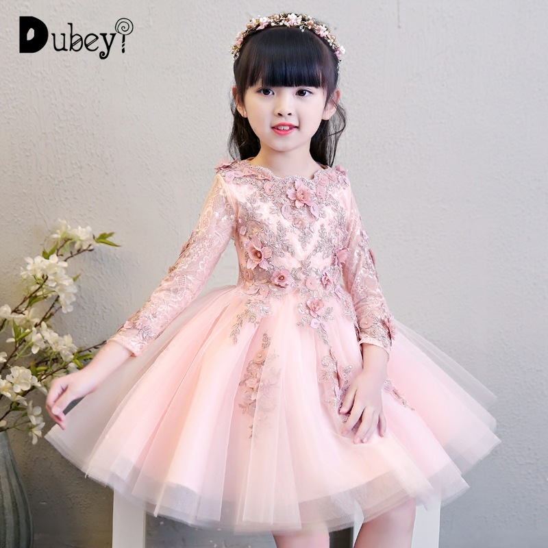 Luxury Pink Princess Party Dress For Girls 1 12 Years Old Elegant Long Sleeve First Communion Party Decorations Costumes Dresses Aliexpress
