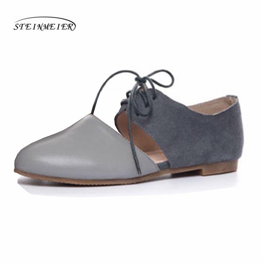 Ayakk.'ten Kadın Topuksuz Ayakkabı'de Kadın kare ayak düz loafer'lar ayakkabı el yapımı gri bej vintage Retro deri rahat toka rahat mokasen oxford ayakkabı'da  Grup 2