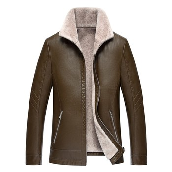 1711 New Fashion Winter Man Clothes male Fur sheep skin leather coat lapel middle-aged male casual Slim Leather Jacket