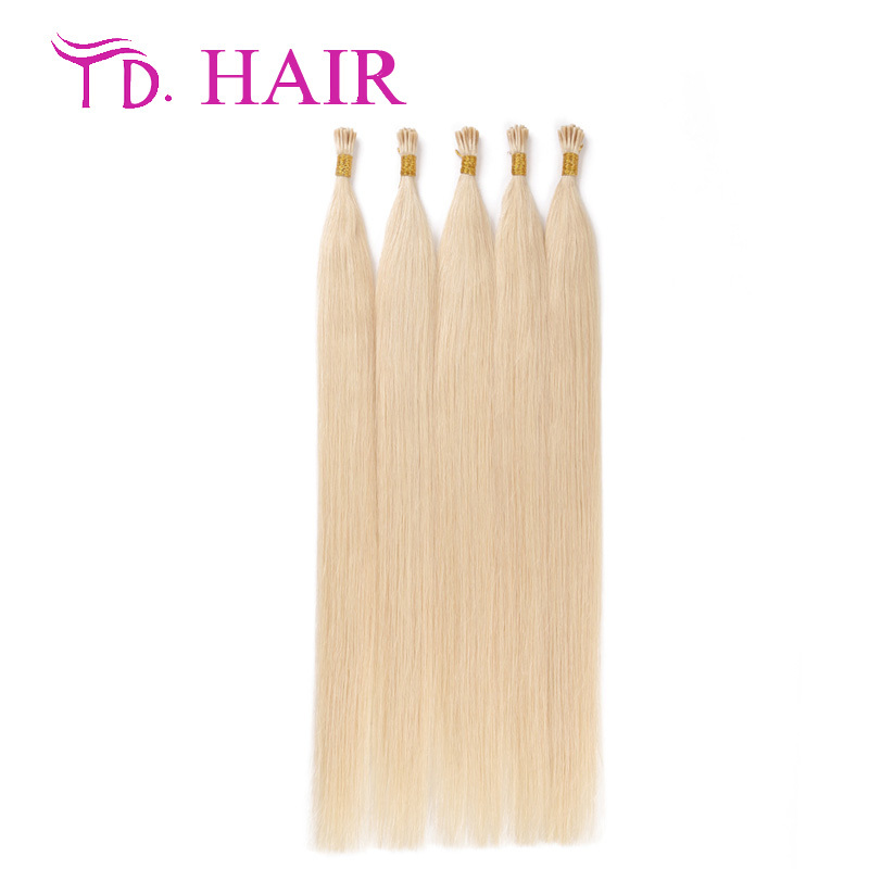#60 Double drawn i tip human hair extensions soft platinum blonde virgin hair 100% brazilian straight virgin hair