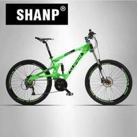 SUPER Mountain Bike de Suspensão Total Quadro de Alumínio 24/27 Velocidade Hidráulico/Mecânico de Freio 26