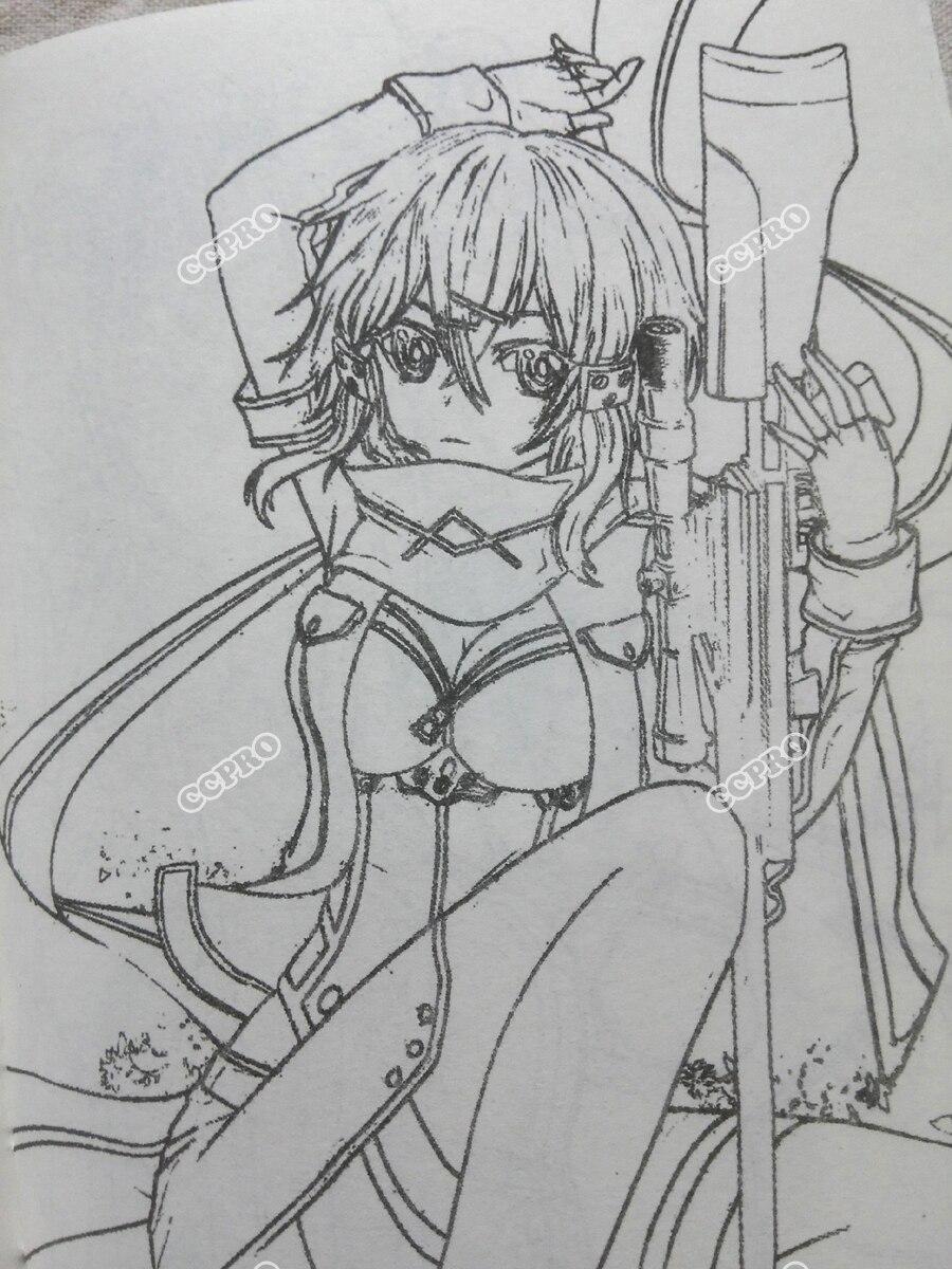 Sketsa Buklet Dengan Japanese Anime Pedang Seni Online Gun Gale
