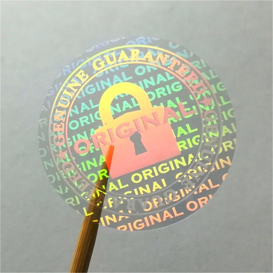 Прозрачная голографическая наклейка на заказ, печатная гарантия, пустая, если удалена, одноразовое использование, лазерная голографическа...