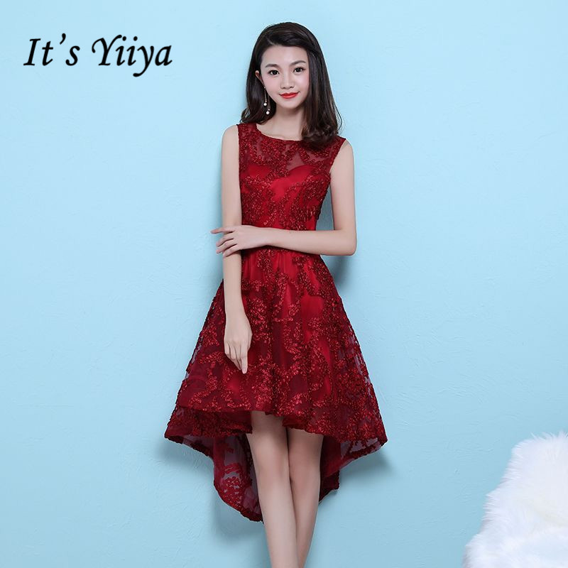 It's YiiYa   Cocktail     Dresses   Wine Red O-neck Sleeeveless Embroidery High Low Tea Length Formal   Dress   Party Gowns MX042 In Stock
