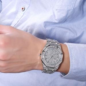 Image 4 - KIMSDUM 男性 2019 高級ブランドデザインクオーツダイヤモンドの腕時計男性アイスアウト腕時計 AAA 防水レザー腕時計