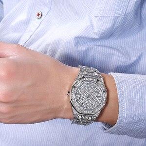 Image 4 - Kimsdom الرجال الساعات 2019 العلامة التجارية الفاخرة تصميم كوارتز ساعة ماسية للرجال مثلج خارج ساعة AAA مقاوم للماء ساعة يد جلدية