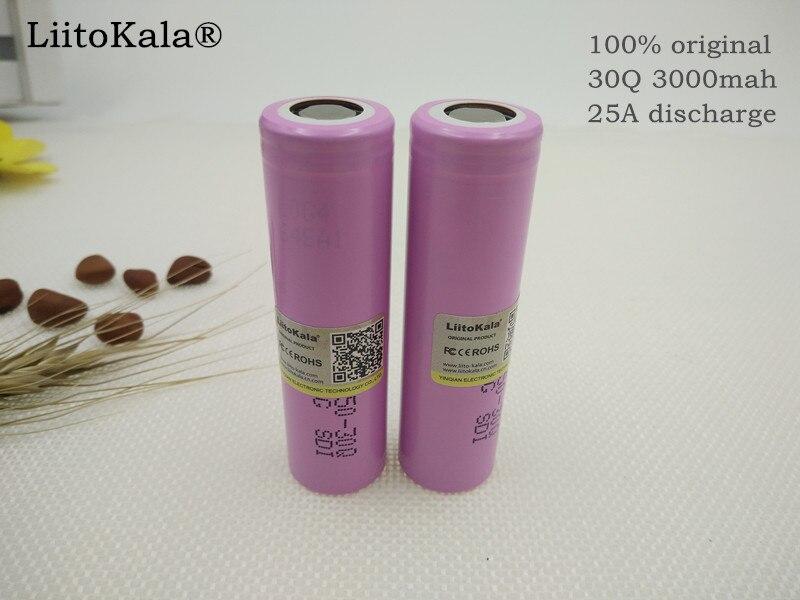 6 UNIDS Liitokala 100% Original New INR18650 30Q Battery Rechargeable 3000mAh for samsung Li-Ion Battery For E-cigarette ...